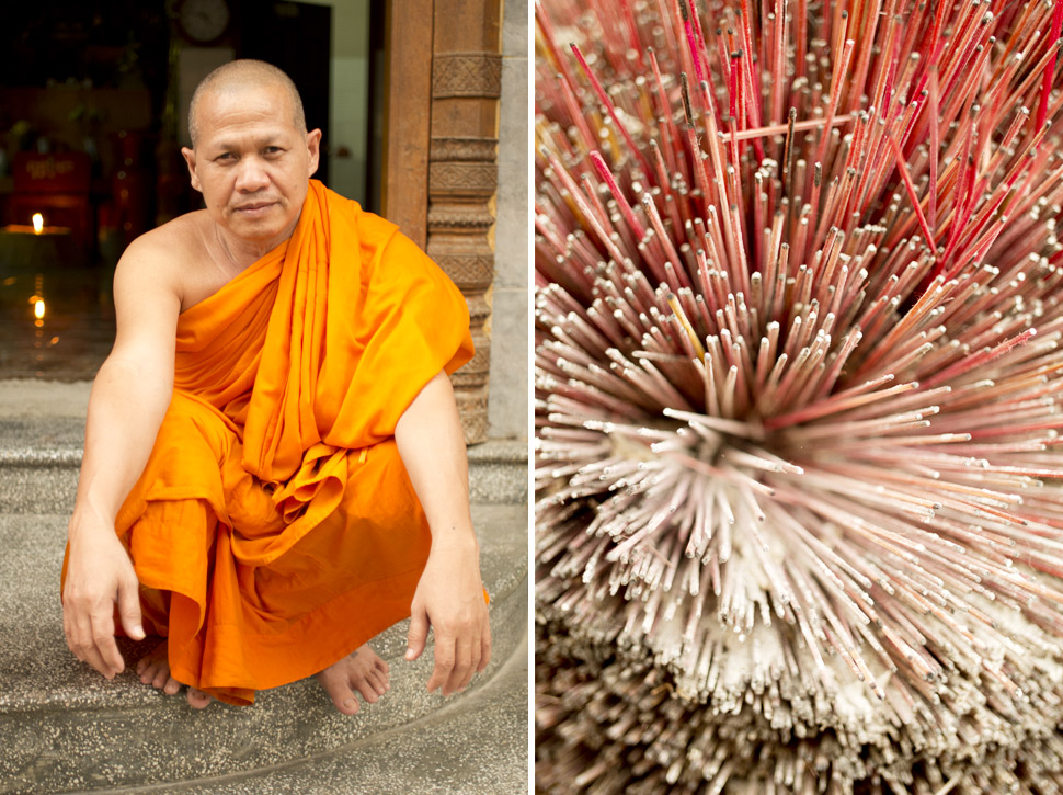 Saffron robes of Therevada monk in Phnom Penh