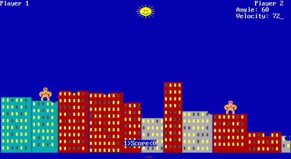 QBasic Gorillas Throwing Bananas